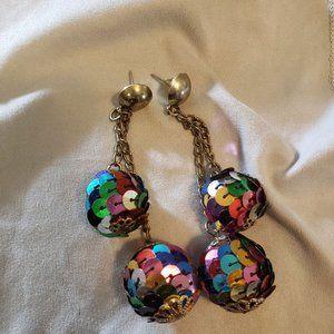 Vintage Disco Ball Rainbow Earrings Dangle Circle
